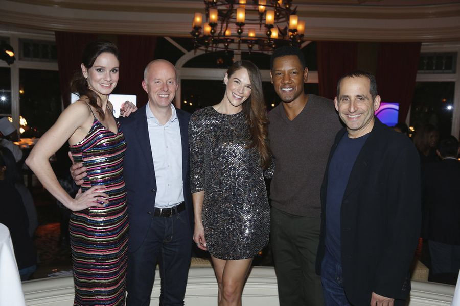 "NBCUNIVERSAL EVENTS -- NBCUniversal Press Tour, January 2016 -- NBCUniversal Party -- Pictured: (l-r) Sarah Wayne Callies, ""Colony""; Chris McCumber, President, USA Network; Amanda Righetti, Tory Kittles, Peter Jacobson, ""Colony"" -- (Photo by: Paul Drinkwater/NBCUniversal)"