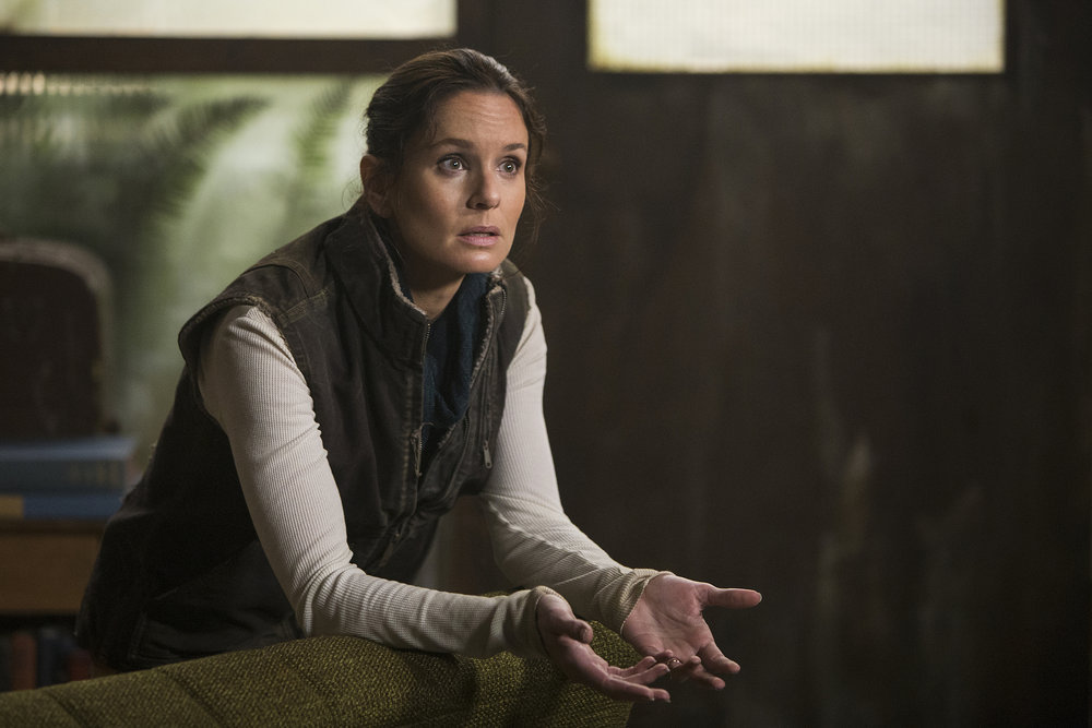 "COLONY -- ""Sierra Maestra"" Episode 303 -- Pictured: Sarah Wayne Callies as Katie Bowman -- (Photo by: James Dittinger/USA Network)"